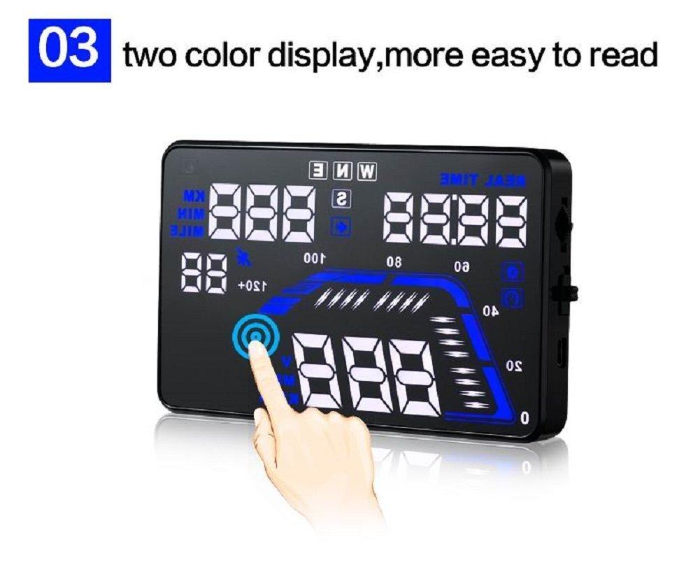 MRCARTOOL 5.5'' Q7 Car HUD Head Up Display Speedometers Car Overspeed GPS Warning Dashboard Windshield Projector Reflective Film by AUTOOL (Image #4)