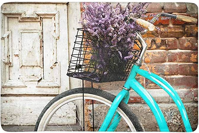 Bicicleta vintage con cesto y flores de lavanda cerca de la vieja puerta de madera Alfombrilla para la puerta para interior y exterior Alfombrillas Alfombrillas, respaldo de goma, 23.6 X 15.8 pulgadas: