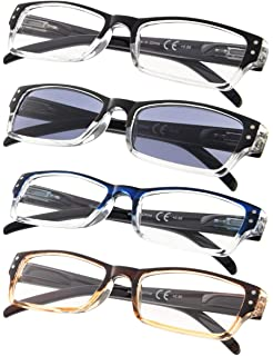 01792903d056 4-pack Rectangular Reading Glasses with Spring Hinges Includes Sunshine  Readers