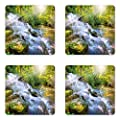 Lunarable Waterfall Coaster Set of Four, Majestic Waterfall in Pleasant Hill Kentucky USA Heavenly Stairs and Sun, Square Hardboard Gloss Coasters for Drinks, Green and White
