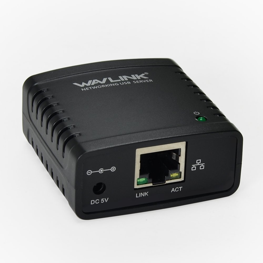 Wavlink Networking Print Server USB 2.0 Ethernet Print Server Adapter LPR 1-Port MFT Print With 10/100Mbps LAN Ethernet Port Share a Standard USB Printer with Multiple Users
