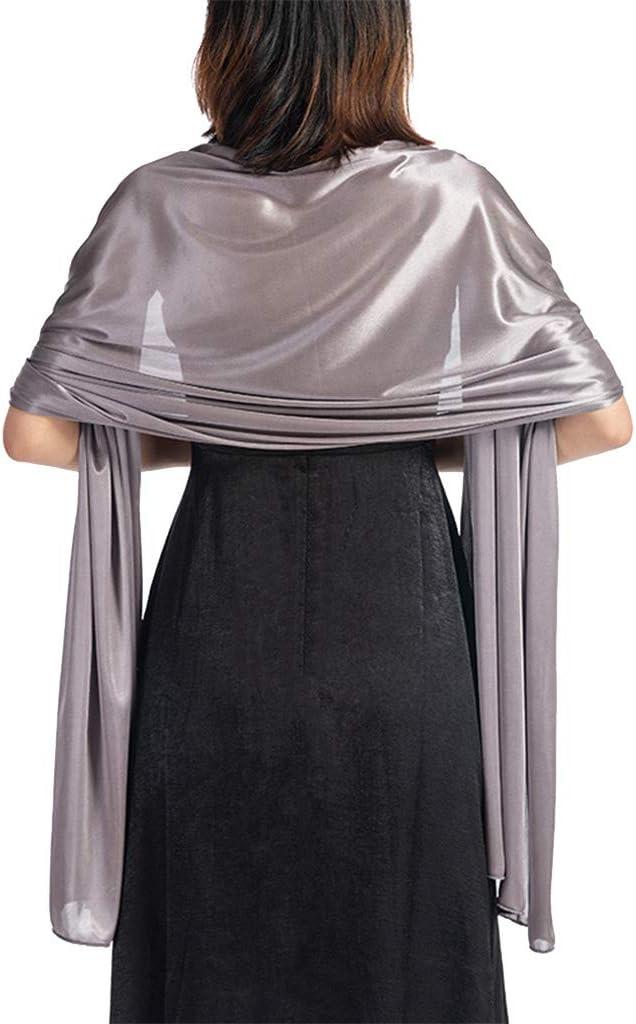 qingqingRLadies Vestido de Noche de Seda de imitaci/ón Fiesta Retro Accesorios de Baile Chal Bufanda de Doble Uso