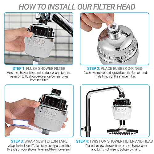 RAD Things Shower filter - Reduces chlorine - water softener and purifies for better hair and skin - safe for babies - 12 stage for all hand held and shower head systems - comes with 2 cartridges by RAD Things (Image #3)