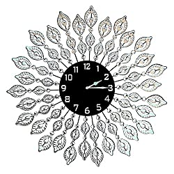 Lulu Decor, Decorative Leaf Metal Wall Clock, Black Glass Dial Diameter 25, Perfect for Housewarming Gift (Crystal Clock Black1)