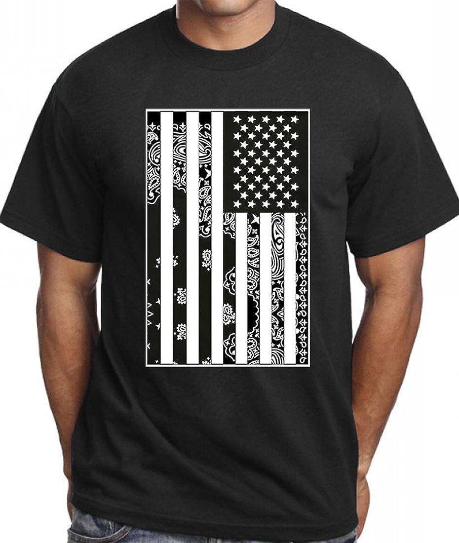 5e1e526a612 Amazon.com  CaliDesign Men s USA Bandana Flag T Shirt Urban Wear Crew Tee   Clothing