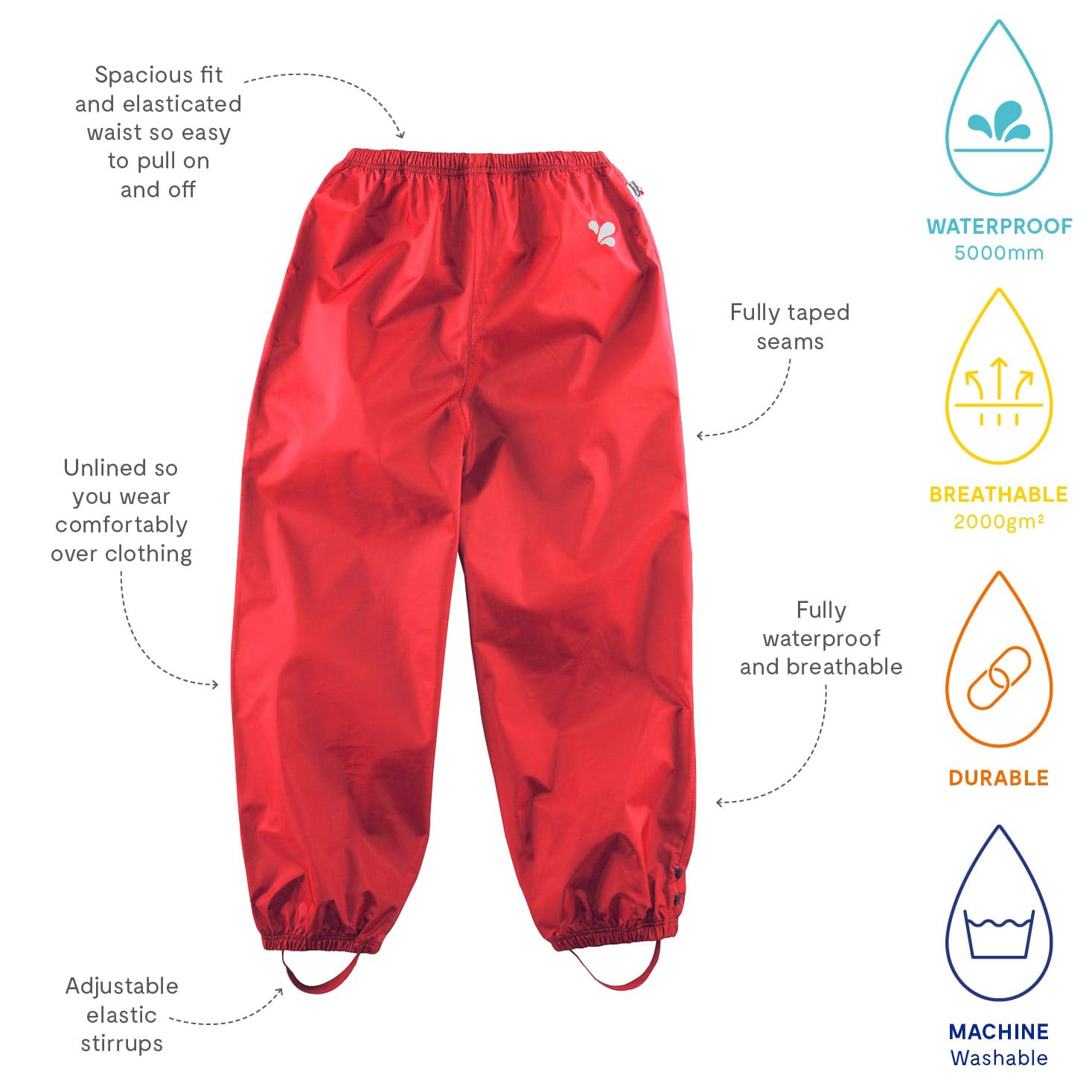 1a76fcc21 Muddy Puddles Children's Originals Trousers Fully Waterproof Rain Proof  Windproof Breathable Durable Underfoot Stirrup Taped Seams Spacious Fit  Elasticated ...