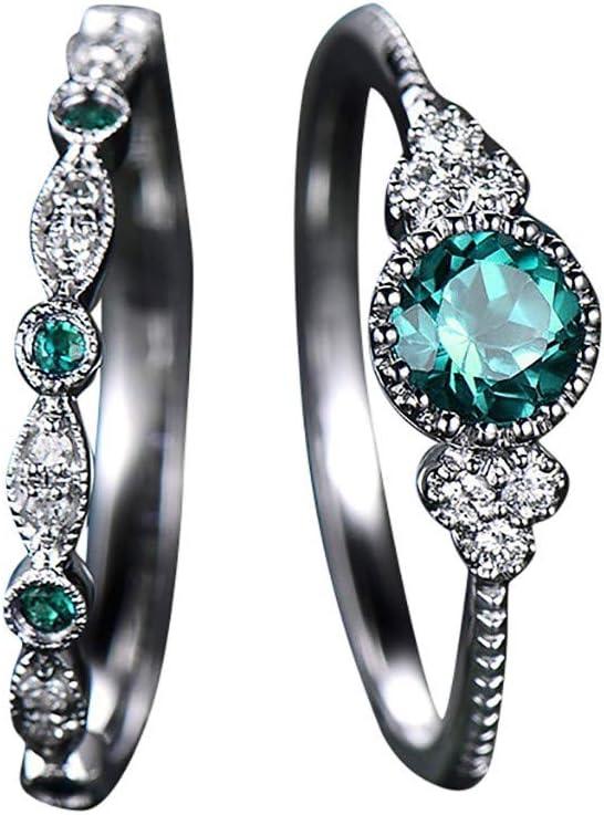 FiedFikt - Juego de 2 Anillos de joyería para Mujer con Piedras Preciosas Naturales Brillantes y zafiros Esmeraldas, Verde, 8