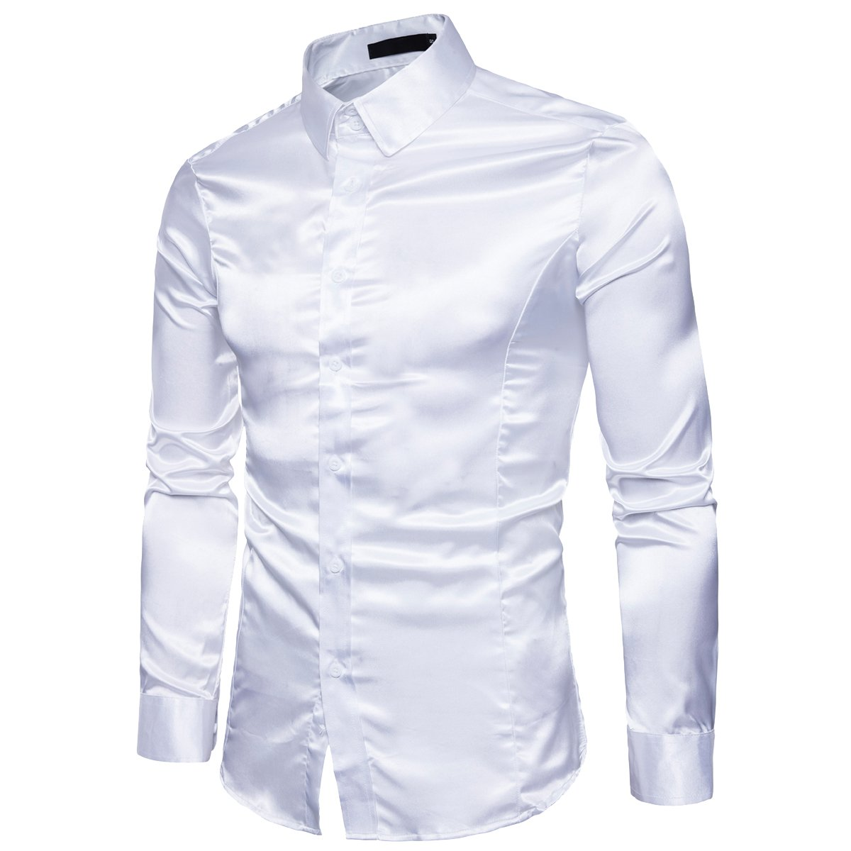 Cottory Mens Night Club Style Satin Weave Pure Color Button Down Shirts