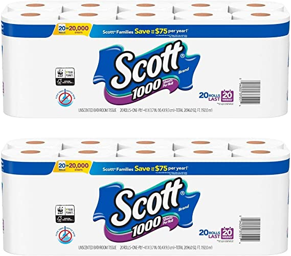 Scott 1000 Toilet Paper 20 Rolls 20 000 Sheets Pack Of 2 Total Of 40 Rolls Health Personal Care Amazon Com