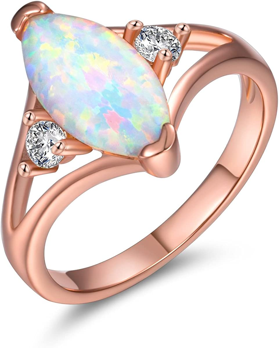 DwearBeauty Rose Gold Plated Cubic Zirconia and Opal Promise Ring