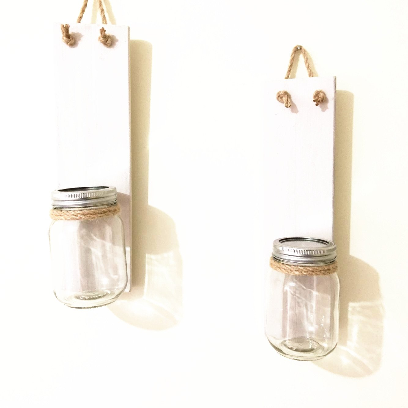 loveyourlife Set of Two Mason Jar Wall Sconces With Hydrangeas, Rustic Home Decor Rustic Wedding Gift, White Wood Wall Candle Holders, Haning Wall Sconce (With Pink Flower)