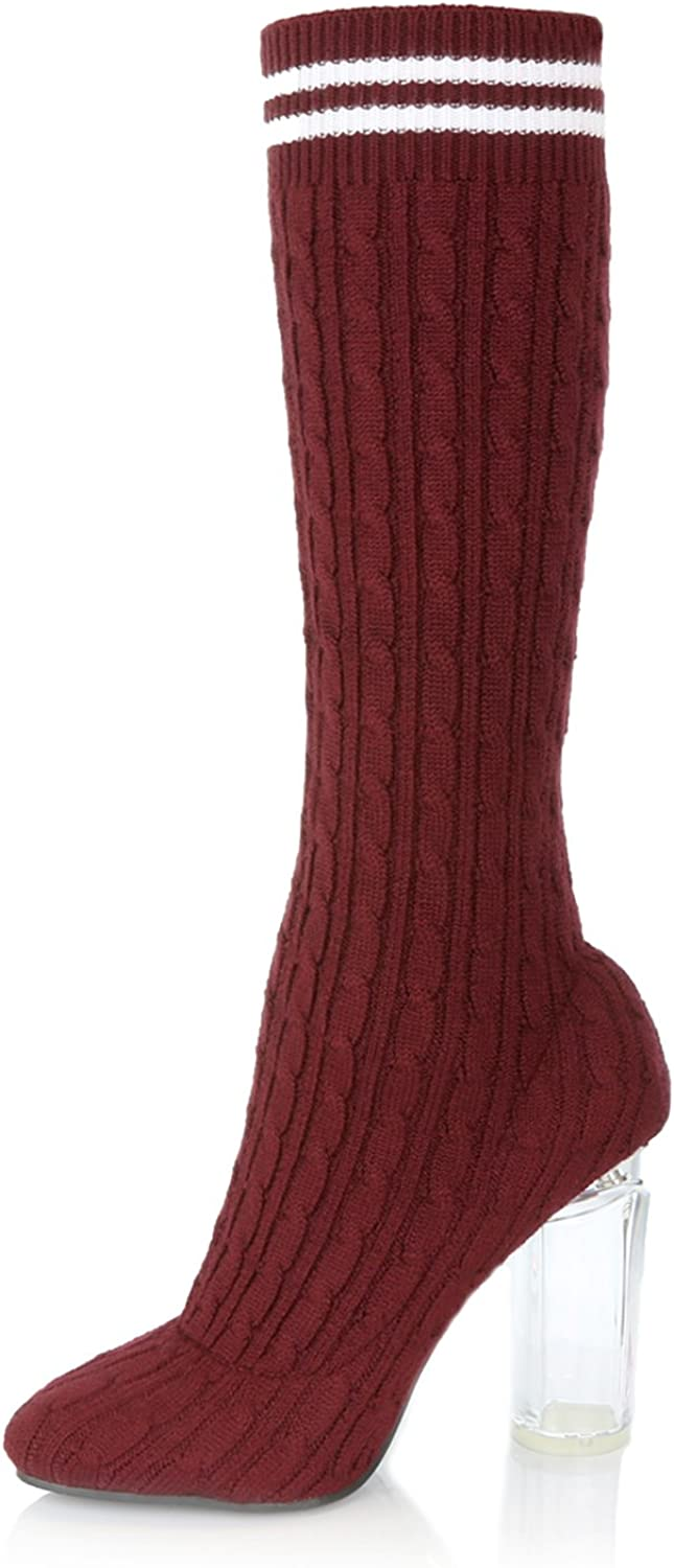 Ultra Soft Sweater Fabric DailyShoes Knee-High Sweater Heels Chunky See-Through Heel Perfect for a Bold Nightwear Look