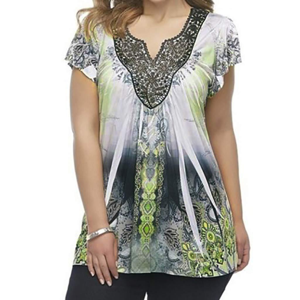DORIC 2019 New Girls Women's Tops Blouse Ladies Summer Short Sleeve Printing Casual T-Shirt Loose Green