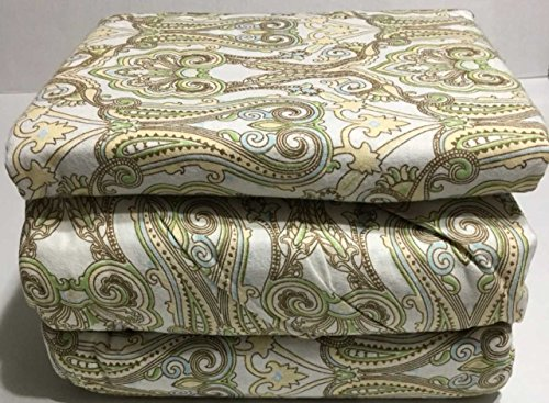 Ramano Collections Flannel Sheet Set Queen Size 4 Piece Bedding 100% Cotton Heavy Duty Deep Pocket Sage Green Paisely Design (Bedding Paisely)