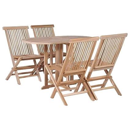 Stupendous Amazon Com Heavens Tvcz Solid Teak Folding Dining Set 5 Machost Co Dining Chair Design Ideas Machostcouk