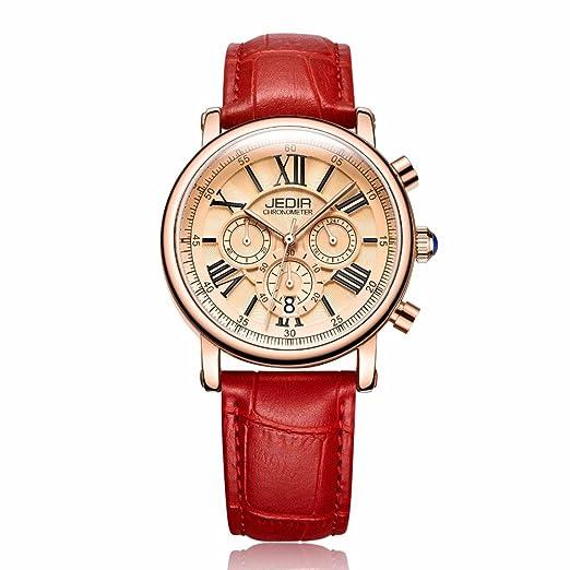 Tayhot - Reloj de pulsera para mujer, cronógrafo, cuarzo, analógico, redondo, oro rosa, casual, correa de piel roja y calendario de fecha: Amazon.es: ...