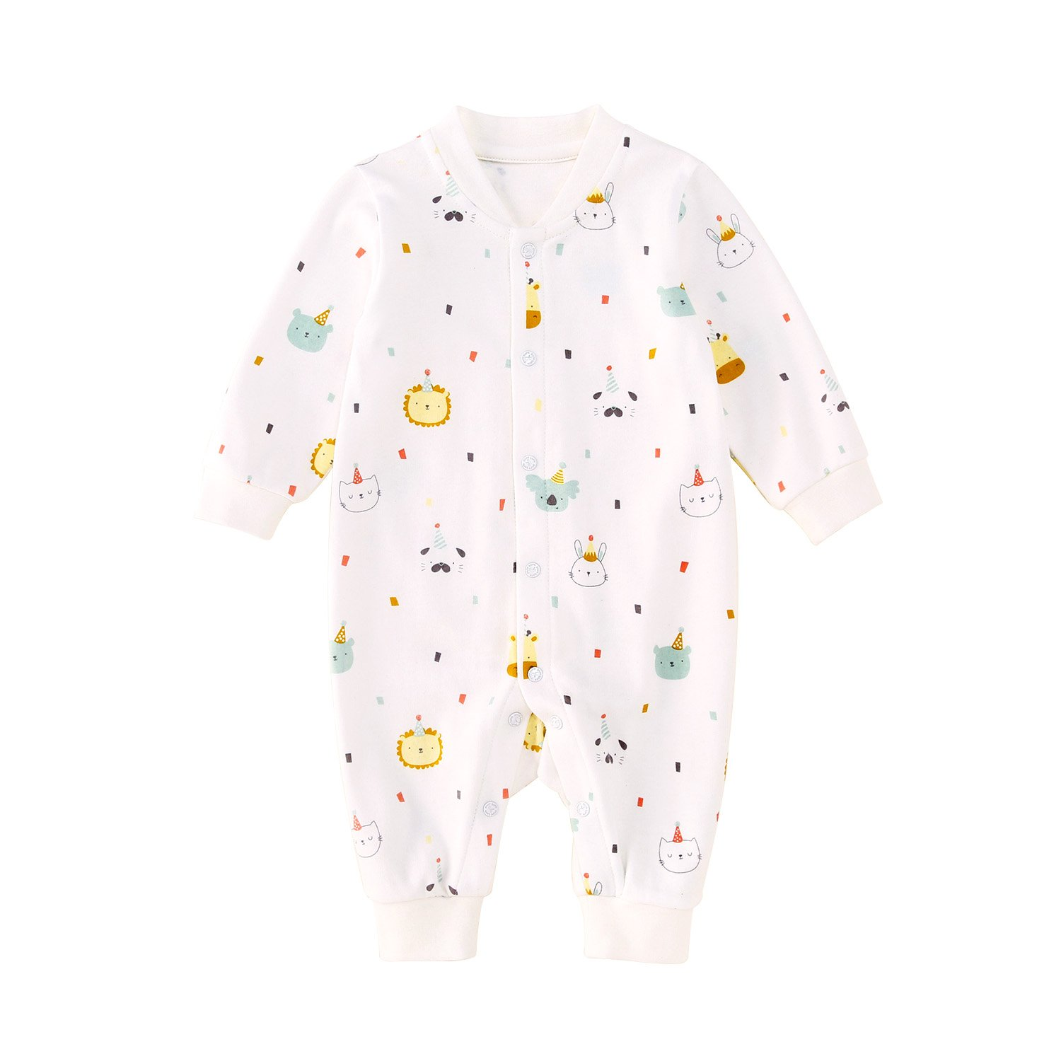 pureborn Baby Coverall Infant Infant Romper Pajamas Embroidery Bear Organic Cotton Long Sleeve Jumpsuits Sleepwear