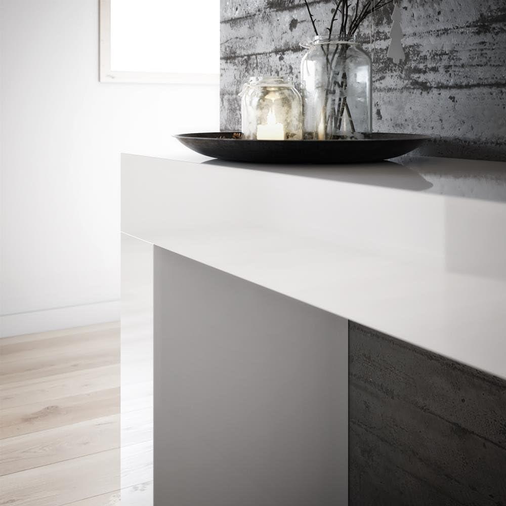 Mobili Fiver, Tavolo Consolle Evolution, Bianco Frassino, 110 x 40 x 80 cm, Nobilitato, Made in Italy, Disponibile in Vari Colori Bianco Lucido