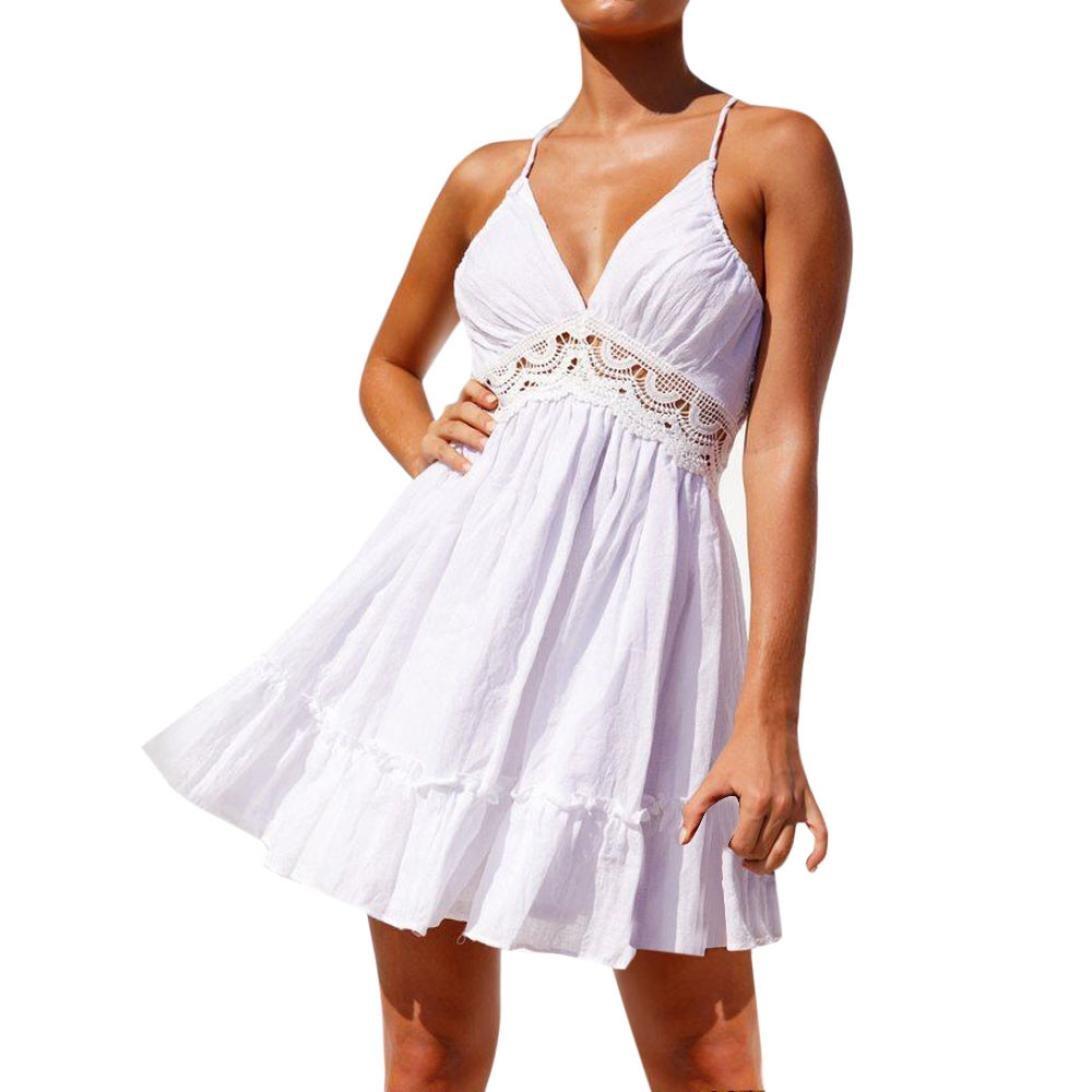Funic Dresses,Women Summer Sleeveless Backless Lace Dress Evening Party Short Sling Dresses (S, White)