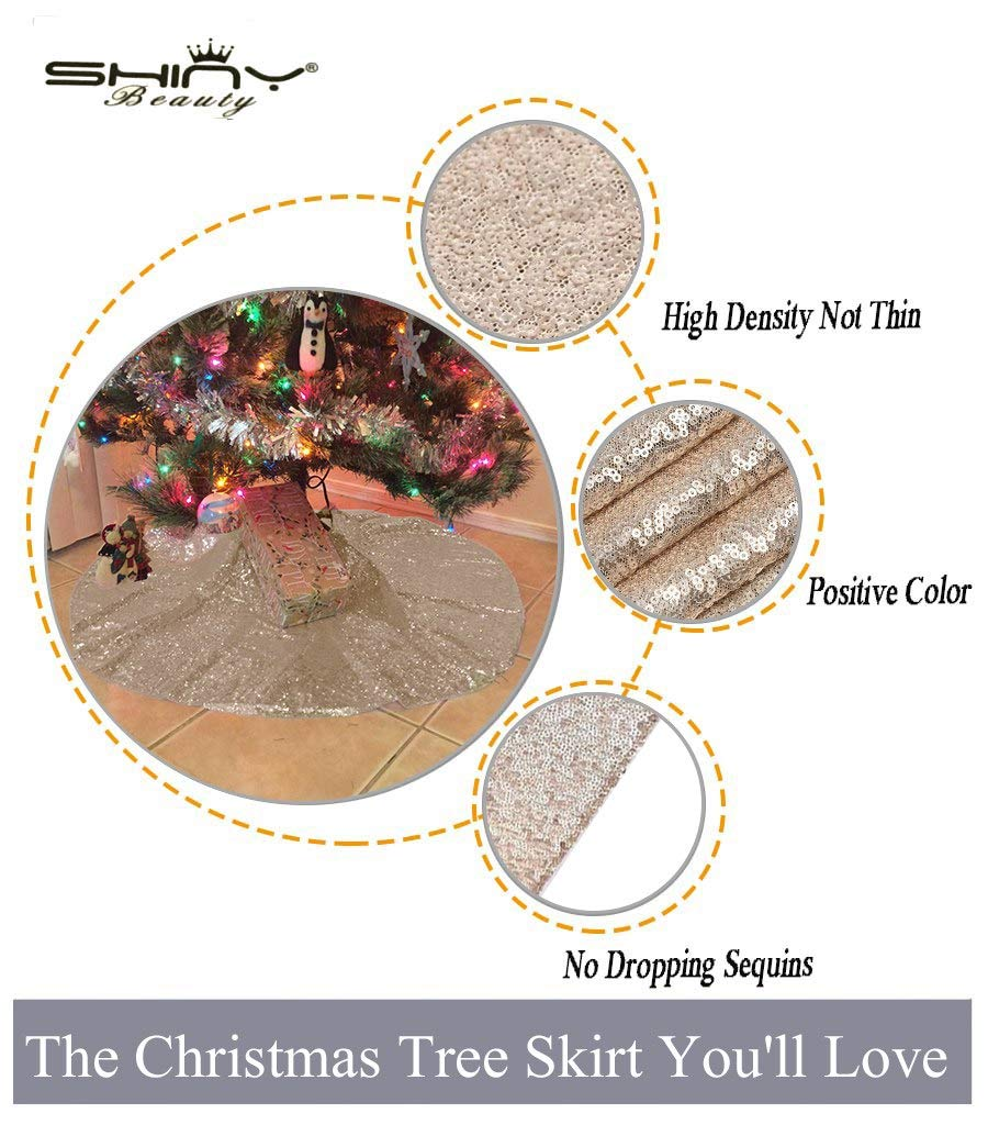 ShinyBeauty Sequin-Tree-Skirt Champagne 48-Inch Christmas Tree Skirt Home Xmas Party Colorful Decoration Glitter Sequin Tree Skirt D1016