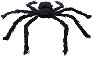 """Tinksky 20"""" Black Large Spider Plush Toy Realistic Hairy Spider Halloween Party Scary Decoration Haunted House Prop Indoor Outdoor Yard Decor"""