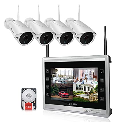 Luowice Audio Wireless Security Camera System with 11\u201d Monitor 960p 4CH Home Video Surveillance Amazon.com : 11