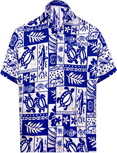 (LA LEELA Likre Soft Silk Printed Shirt Royal Blue 319 2XL |Chest 54