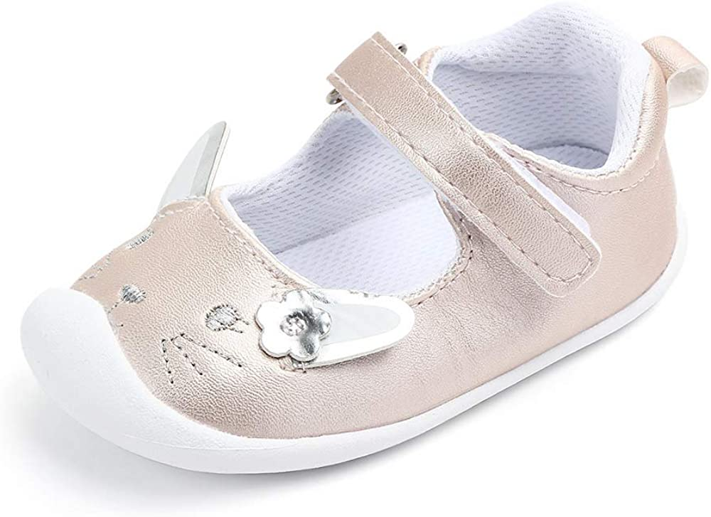 Togudot Newborn Infant Baby Mary Jane Toddler Flats Anti-Slip First Walkers Crib Shoes for Girls 0-18 Months