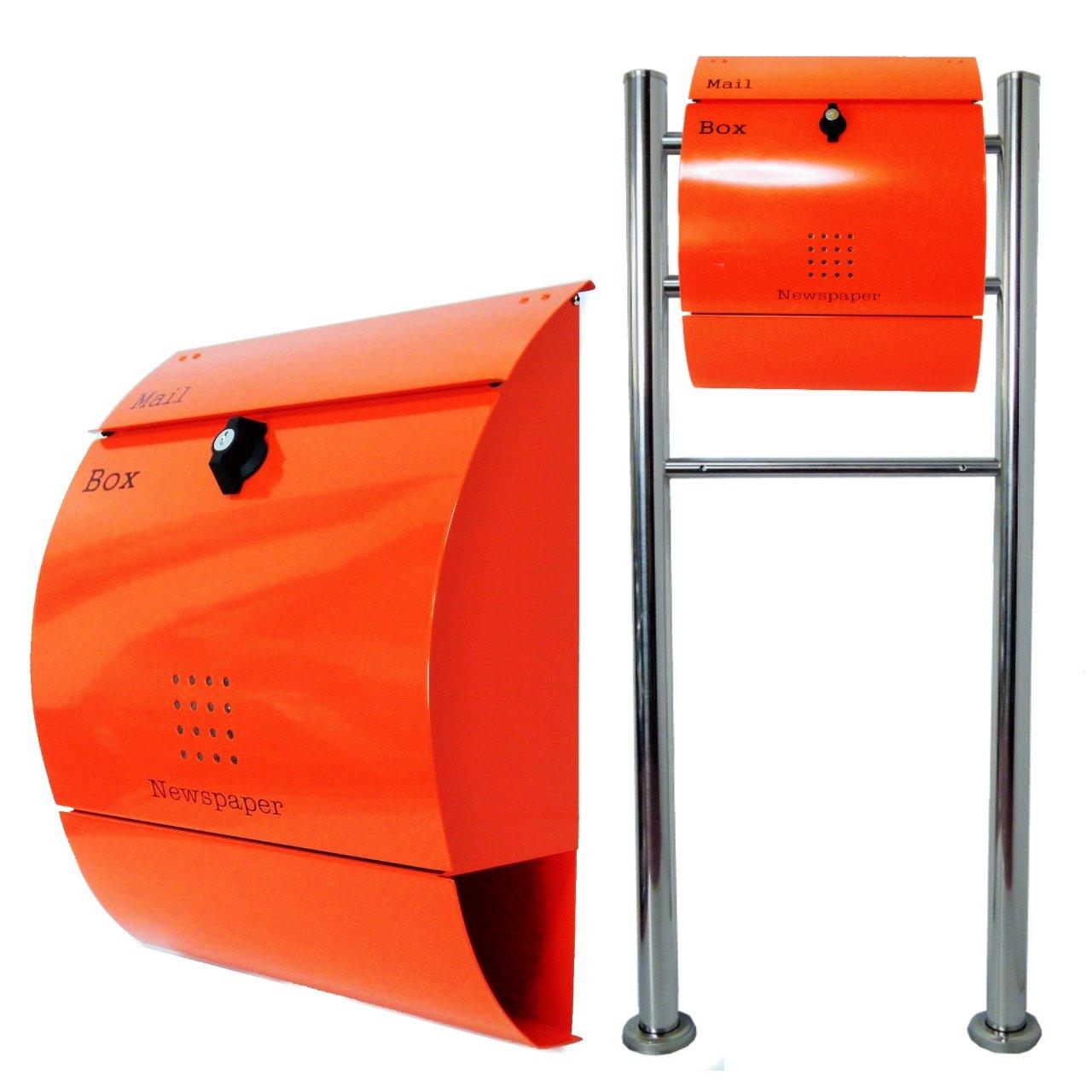 郵便ポスト郵便受けおしゃれ北欧風飾りバー付スタンド型プレミアムステンレスオレンジ色ポストpm06f-pm035 B076GWVSVK 22880
