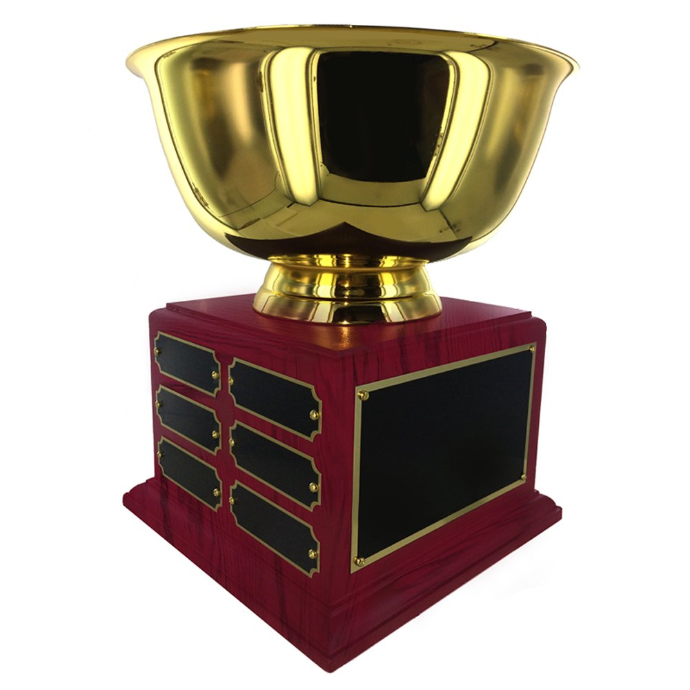 9 Inch Perpetual Gold Cup Trophy on Rosewood Base with 12 Black Name Plates