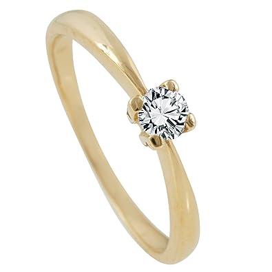 Diamantring gold  Bella Donna Damen Diamantring 585/000 Gelb-Gold 1 Brillant 0,22ct ...