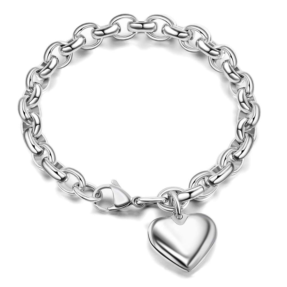 """Jewelry Kingdom 1 Heart Charm Bracelet for Women Girls Silver Stainless Steel Chain Adjustable Valentines Day Jewelry Gift (Length of 7-11"""")"""