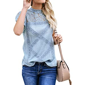 1ca8115d7b43 ZXZY Women Cute Lace Blouse Top Short Sleeve Lace Hollow Out Turtle Neck T  Shirt