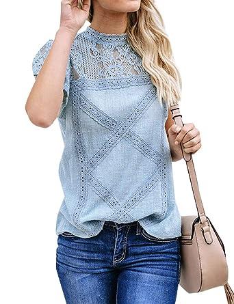 705e8320806 Amazon.com: XUANFEI Women Geometric Pattern T-Shirt Lace Stitching ...