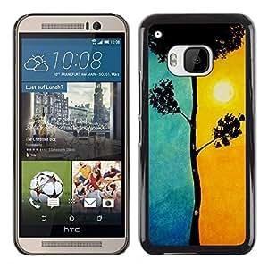 "Snap-on Series Teléfono Carcasa Funda Case Caso para HTC One ( M9 ) , ( Hermosa Blue Sun Orange Tree Naturaleza"" )"