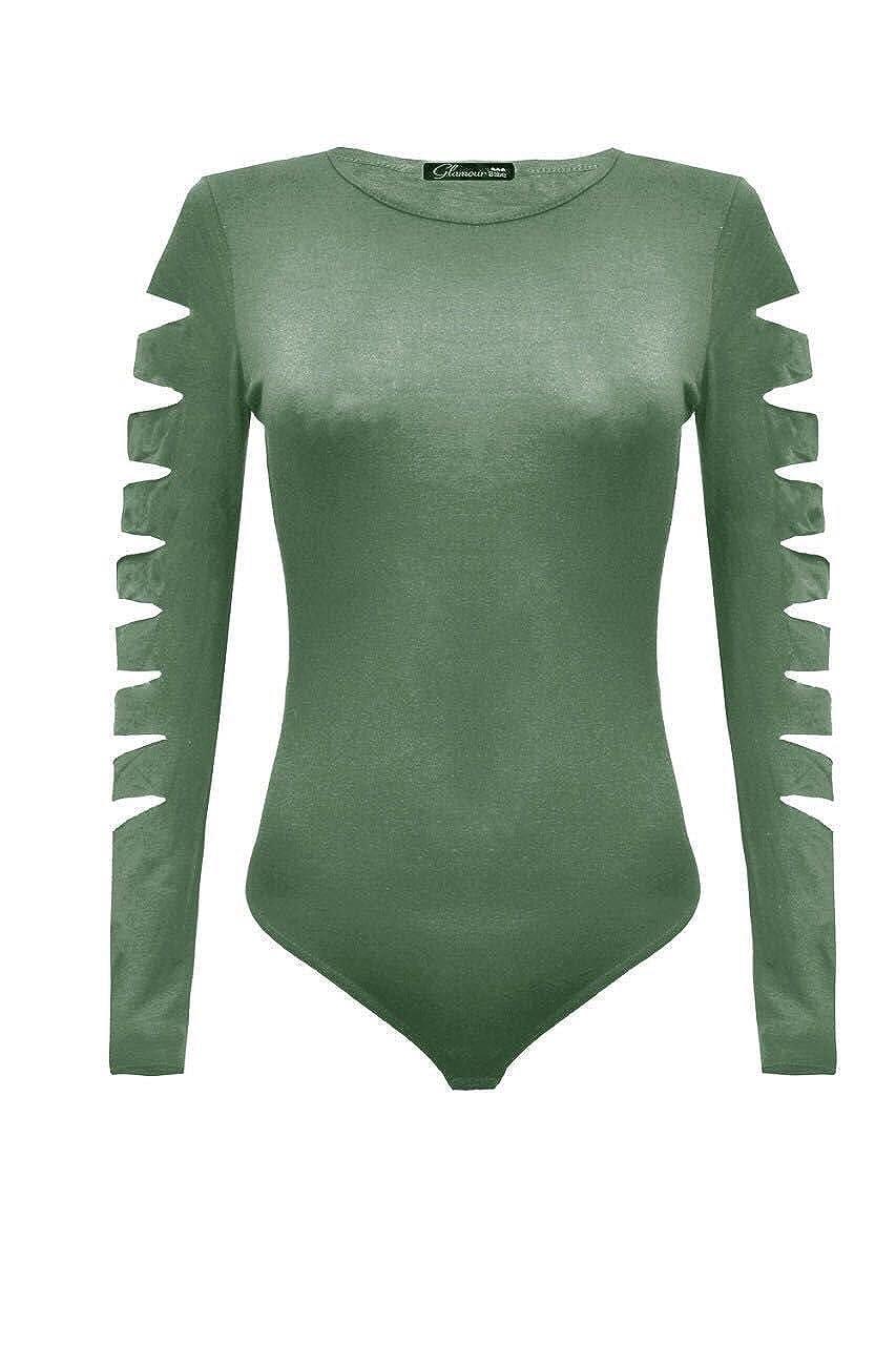 Women Rip Slash Cut Out Long Sleeve Bodysuit PlaySuit Leotard TShirt Top 8-14 DIGITALSPOT
