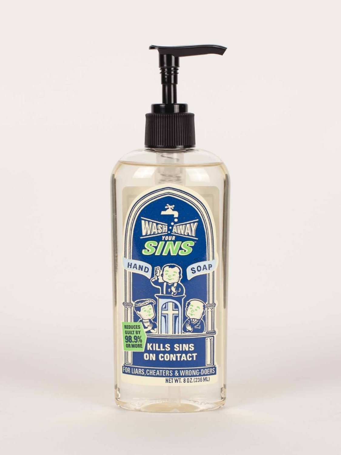 BlueQ Wash Away Your Sins Liquid Hand Soap, 8 oz