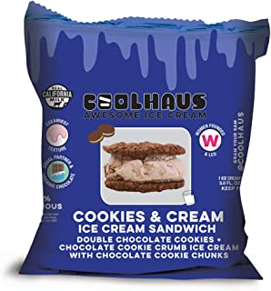 product image for Coolhaus, Cookies & Cream Ice Cream Sandwich with Double Chocolate Chip Cookies, 5.8 oz (Frozen)