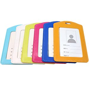 NIUPIKA Leather Vertical Name Tag Badge ID Card Holders Clear Plastic Waterproof Office Business Working Staff Cards