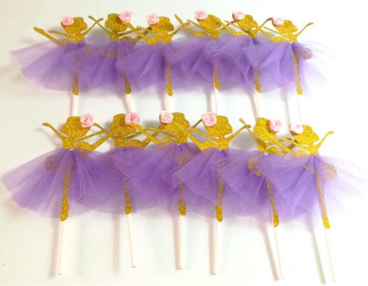 LASLU Cute Ballet Dancer Girls Fairy Peri Dessert Muffin Cupcake Toppers for Picnic Wedding Baby Shower Birthday Party Server (Purple Skirt)