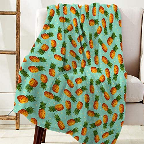 LALADecor Throw Blanket Ultra Soft Flannel Reversible Warm Blanket for Couch Sofa,Summer Fruit Pineapple Fleece Cozy Bed Blanket 50