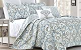 quilt for queen bed - Serenta Tivoli Ikat Design 5 Piece Teal Aqua Printed Prewashed Quilted Coverlet Bedspread Bed cover Summer Quilt Blanket with Cotton Polyester Filled Embroidery Pillow Set, Queen