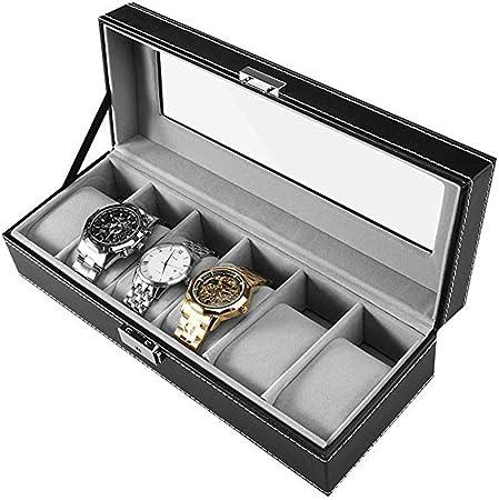 Watch-HLH Caja de Reloj - Almacenamiento Elegante para hasta 6 Relojes de Pulsera Joyas Colecciones de Relojes Caja de Almacenamiento de Relojes: Amazon.es: Hogar