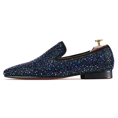 a53818b5382 FERUCCI Men Blue Crystal GZ Rhinestone Slippers Loafers Flats (7)