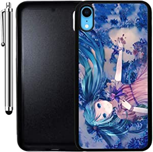 Custom Case Compatible with iPhone XR (Cute Anime Blue Miku) Edge-to-Edge Rubber Black Cover Ultra Slim | Lightweight | Includes Stylus Pen by Innosub