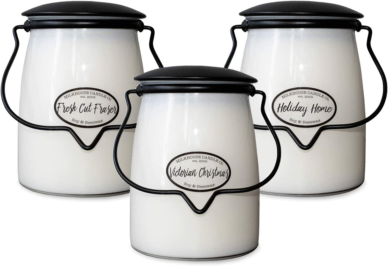 Milkhouse Candle Company Christmas 3-Pack Butter Jar Candles   Fresh Cut Fraser, Holiday Home, Victorian Christmas   22oz Glass Jar Scented Candles for The Home   Hostess Gift   Soy Candles