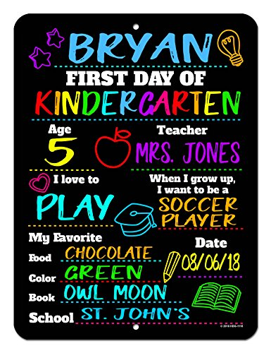 Honey Dew Gifts First Day of School HDG-1115 Chalkboard Style Photo Prop Tin Sign - 9 x 12 inch Reusable Easy Clean Back to School - USE Liquid Chalk Markers to Customize (Not Included)