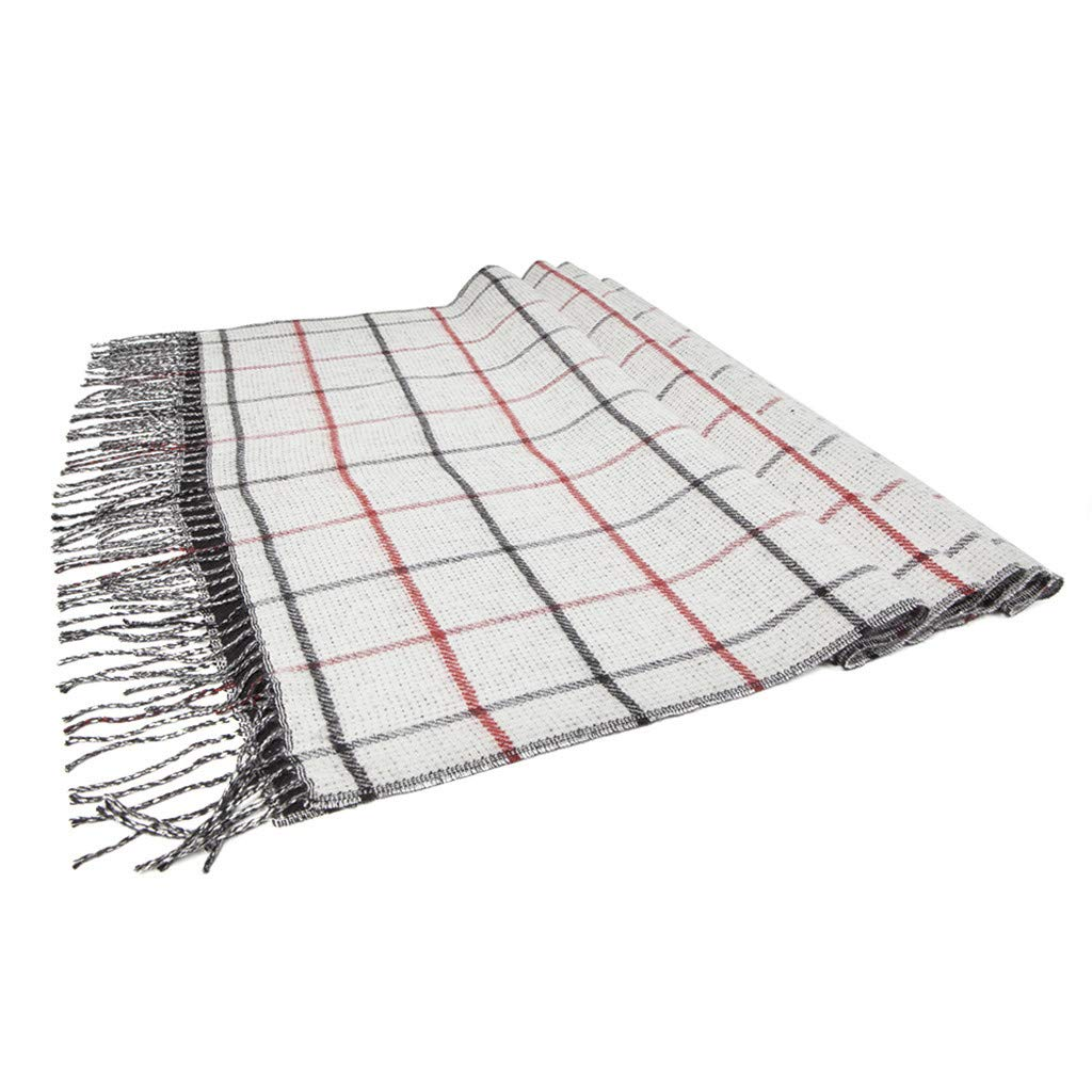 Cnebo Women Classic Plaid Blanket Scarf Winter Warm Tassel Scarf Cozy Tartan Wrap Oversized Shawl Cape Checked Pashmina