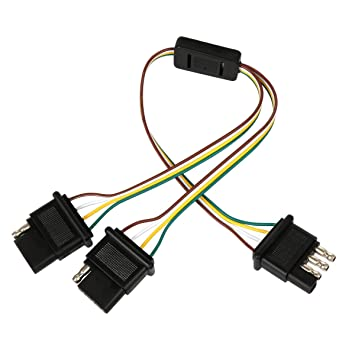 Wigbow Flat 4 Pin Y-Splitter Adapter Trailer Harness - for ... on