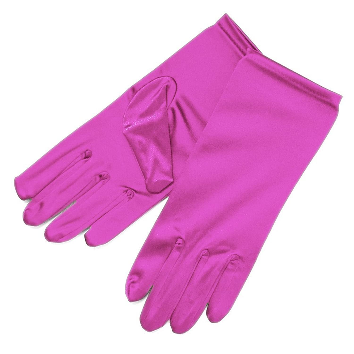 Collager Lady's Shiny Stretch Satin Dress Gloves Wrist Length 2BL (Rose Red)